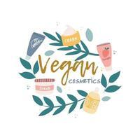 ícone, logotipo da cosmética vegana. plantas, ramos, potes de creme e tubos, elementos decorativos em um círculo. imagem vetorial em um fundo branco vetor