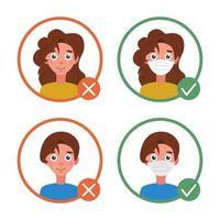 informações para visitantes. com e sem máscara. proteção individual contra coronavírus, sem entrada sem máscara. imagem plana de vetor em um fundo branco