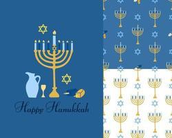 feliz conjunto de hanukkah. um cartão postal e dois padrões sem emenda. imagem vetorial vetor