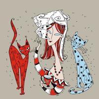 uma garota com gatos bebe café. hora do café. estilo art nouveau vetor