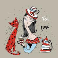 uma garota com um gato bebe chá. hora do chá. estilo art nouveau vetor