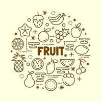 conjunto de ícones de linha fina mínima de frutas vetor