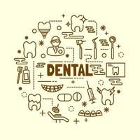 conjunto de ícones odontológicos de linha fina mínima vetor