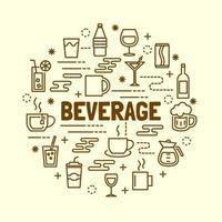 conjunto de ícones de linha fina mínima de bebida vetor