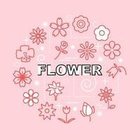 ícones de contorno mínimo de flores