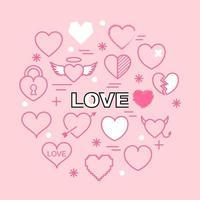 ícones de contorno mínimo de coração vetor