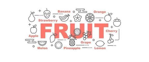 banner de vetor de frutas