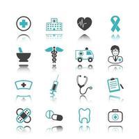 ícones médicos com reflexão vetor