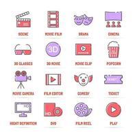ícones de linha de vetor de filme com cores planas