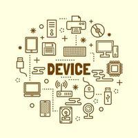conjunto de ícones de linha fina mínima de dispositivo vetor