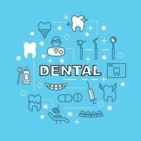 ícones de contorno mínimo dentário vetor