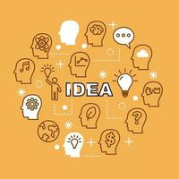 ícones de contorno mínimo da ideia vetor