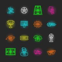 conjunto de ícones de néon de futebol vetor