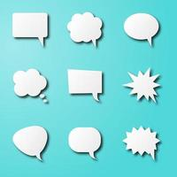 balões de fala em papel arte vetor