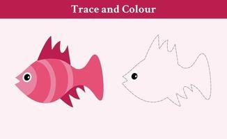 traçar e colorir vetor livre de peixes