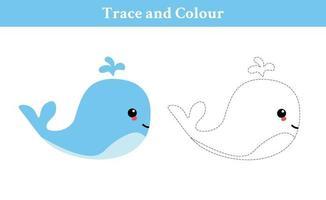 traçar e colorir vetor livre de baleia