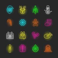 conjunto de ícones de néon de natal vetor