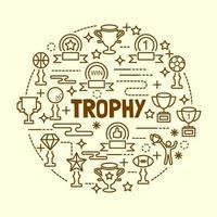 conjunto de ícones de linhas finas mínimas de troféu vetor