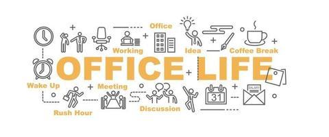 banner de vetor de vida no escritório