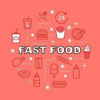 ícones de contorno mínimo de fast food vetor