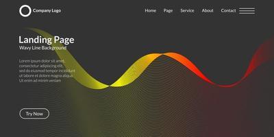 fundo de linha de curva de onda abstrata em gradiente roxo e azul vetor