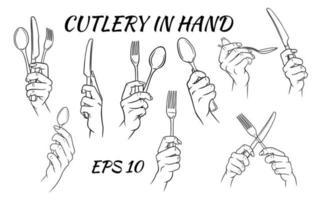 talheres. garfo, colher e faca na mão. estilo de desenho animado. um restaurante. vetor