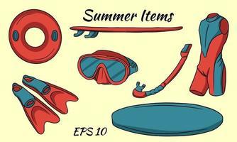 um conjunto de itens necessários para esportes aquáticos. prancha de surfe, nadadeiras, roupa de neoprene, máscara, bóia salva-vidas. vetor