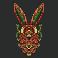 ornamento colorido abstrato doodle arte coelho ilustração dos desenhos animados conceito vetor. adequado para logotipo, papel de parede, banner, plano de fundo, cartão, ilustração de livro, design de t-shirt, adesivo, capa, etc. vetor