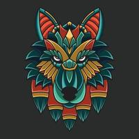 ornamento colorido abstrato doodle arte lobo ilustração dos desenhos animados conceito vetor. adequado para logotipo, papel de parede, tatto, plano de fundo, cartão, ilustração de livro, design de t-shirt, adesivo, capa, etc. vetor