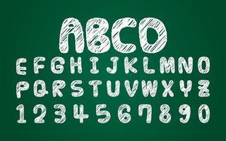 estilo de esboço de alfabetos e números vetor