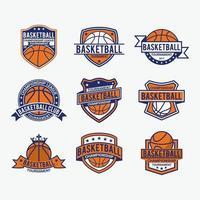 conjunto de modelos de design de vetores de emblemas de basquete