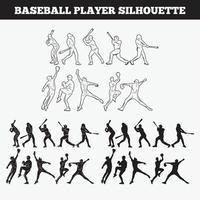 Conjunto de design de vetor de silhueta de beisebol