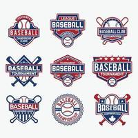 emblemas de beisebol e modelo de vetor de design de logotipo