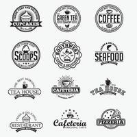 modelos de design de vetores de emblemas e logotipos de restaurantes vintage