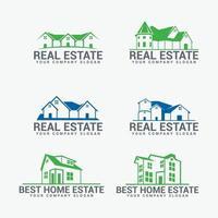 Conjunto de emblemas imobiliários e design de logotipo vetor