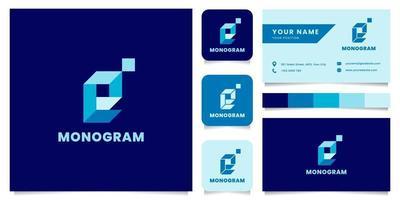 Logotipo da letra e isométrico azul simples e minimalista com modelo de cartão de visita vetor