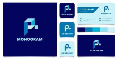 Logotipo da letra p isométrica azul simples e minimalista com modelo de cartão de visita vetor