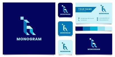 Logotipo da letra h isométrica azul simples e minimalista com modelo de cartão de visita vetor