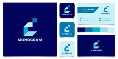 Logotipo da letra c isométrica azul simples e minimalista com modelo de cartão de visita vetor