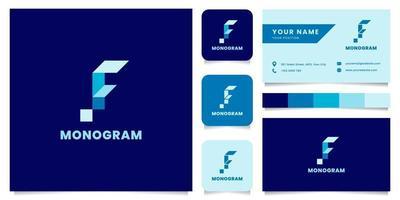 Logotipo da letra f isométrica azul simples e minimalista com modelo de cartão de visita vetor