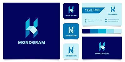 Logotipo da letra k isométrica azul simples e minimalista com modelo de cartão de visita vetor