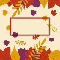 temporada de outono, design de modelo de cartaz ou banner de folha de outono com moldura vazia para texto, ilustração vetorial vetor