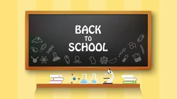 texto de volta às aulas com base em itens e elementos escolares, ilustração vetorial vetor