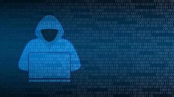 segurança da tecnologia cibernética. hacker na tela digital, design de plano de fundo de proteção de rede, ilustração vetorial vetor