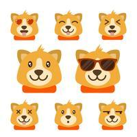 Coleção de vetores de emoticons de cão plana