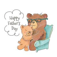 Fofo urso pai com filho para o dia dos pais vetor