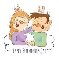 Lindo casal de amigos sorrindo vetor