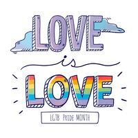 Letras de mão colorido sobre amor ao orgulho mês vetor
