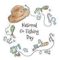 Chapéu de pesca bonito, peixe, bolha e isca vetor