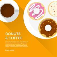 Donuts planas e café com sombra longa ilustração vetorial de fundo laranja vetor